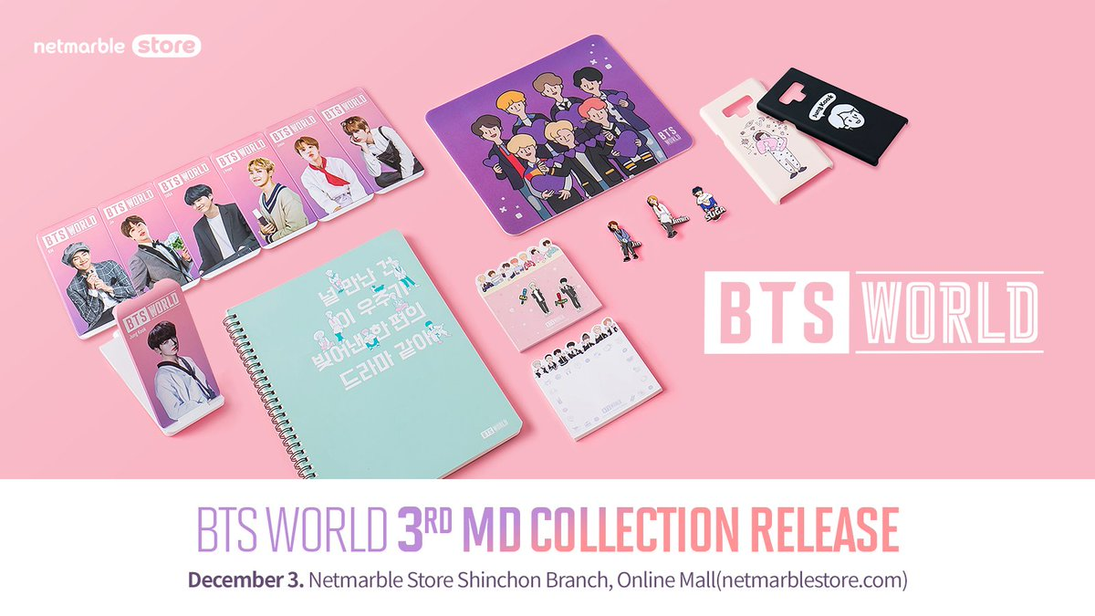 BTS WORLD 3rd MD Collection Release [Period] Available on December 3 10:30AM (KST) [Place] Netmarble Store Shinchon Branch, Online Mall [Go to notice] forum.netmarble.com/btsworld/view/… #netmarblestore #BTSWORLD
