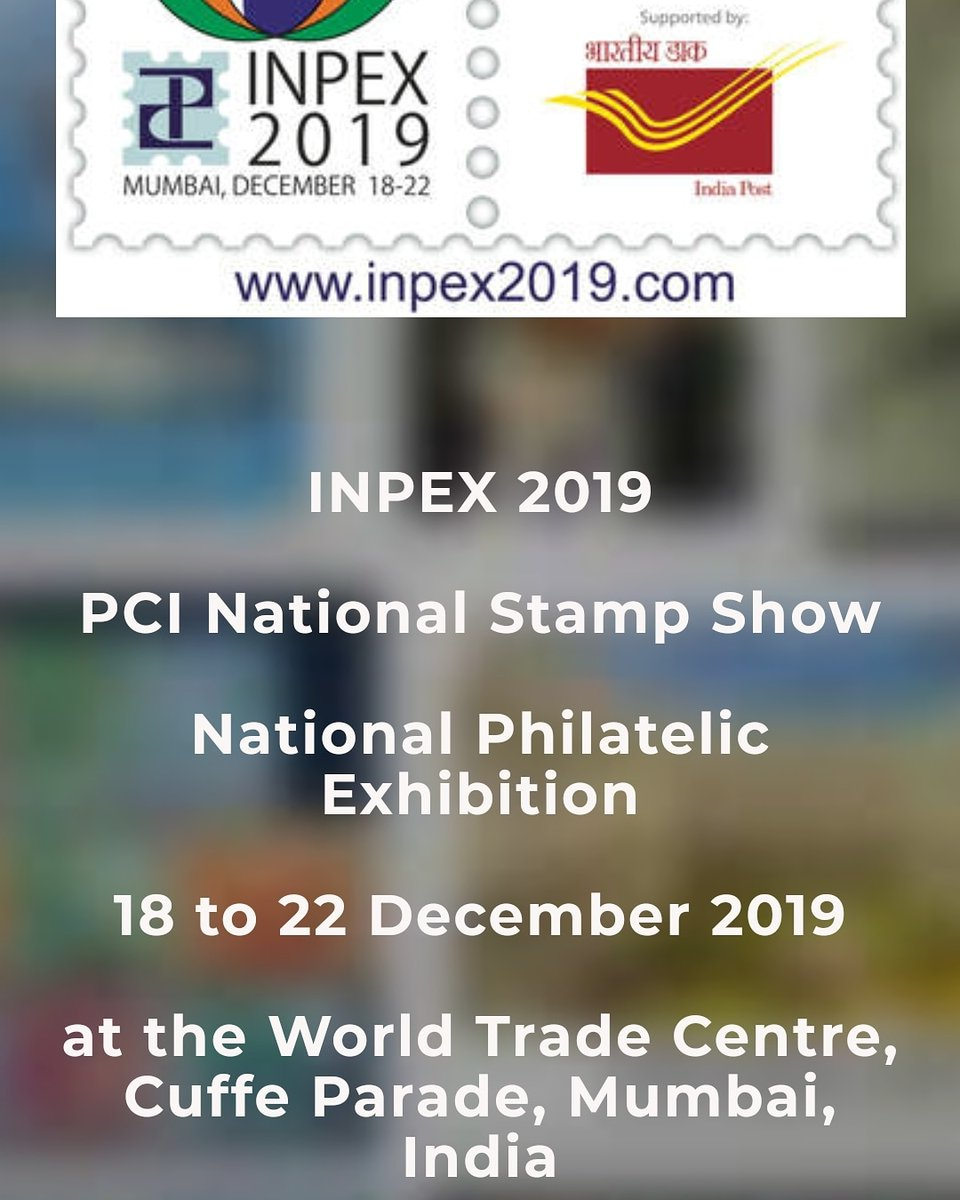 Inpex 2019 is going to be organized at world trade center, cuffe parade, MumbaiHope to see you all there#Inpex2019 #Stamp #philately http://www.inpex2019.com