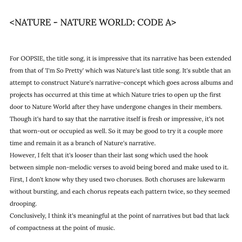 [Review] NATURE - NATURE WORLD: CODE A @nature_nchworld @nchworld#네이처 #NATURE #소희 #새봄 #루 #채빈 #하루 #로하 #유채 #선샤인 #SOHEE #SAEBOM #LU #CHAEBIN #HARU #LOHA #UCHAE #SUNSHINE #NATURE_WORLD #CODE_A #OOPSIE #웁시https://glassoweizen.blogspot.com/2019/11/review-nature-nature-world-code-a.html?spref=tw…