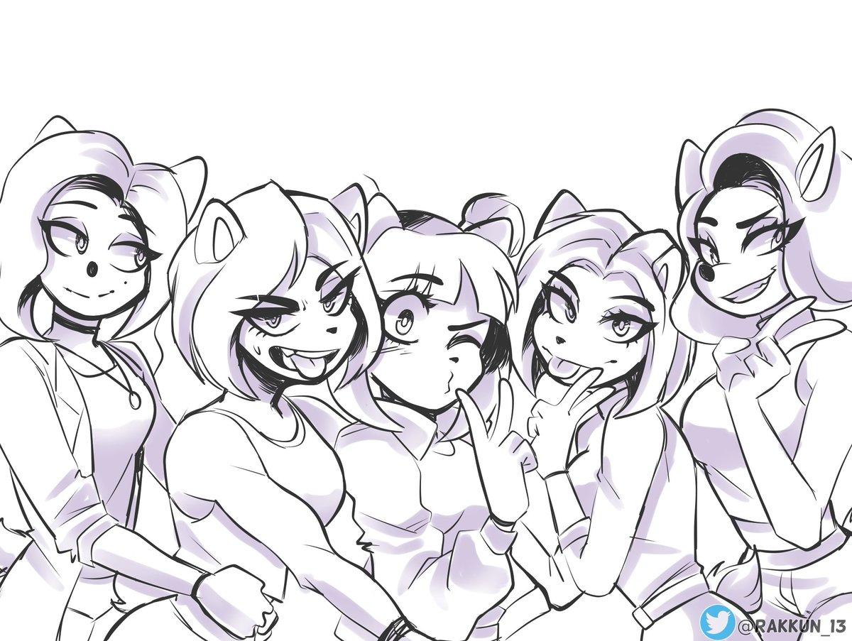 Sketch of Nitro Squad babes.. for some reason I want to paint this now..   #CrashBandicoot #CTRNitroFueled #CrashTeamRacingNitroFueled<br>http://pic.twitter.com/s7ISMaLbaK