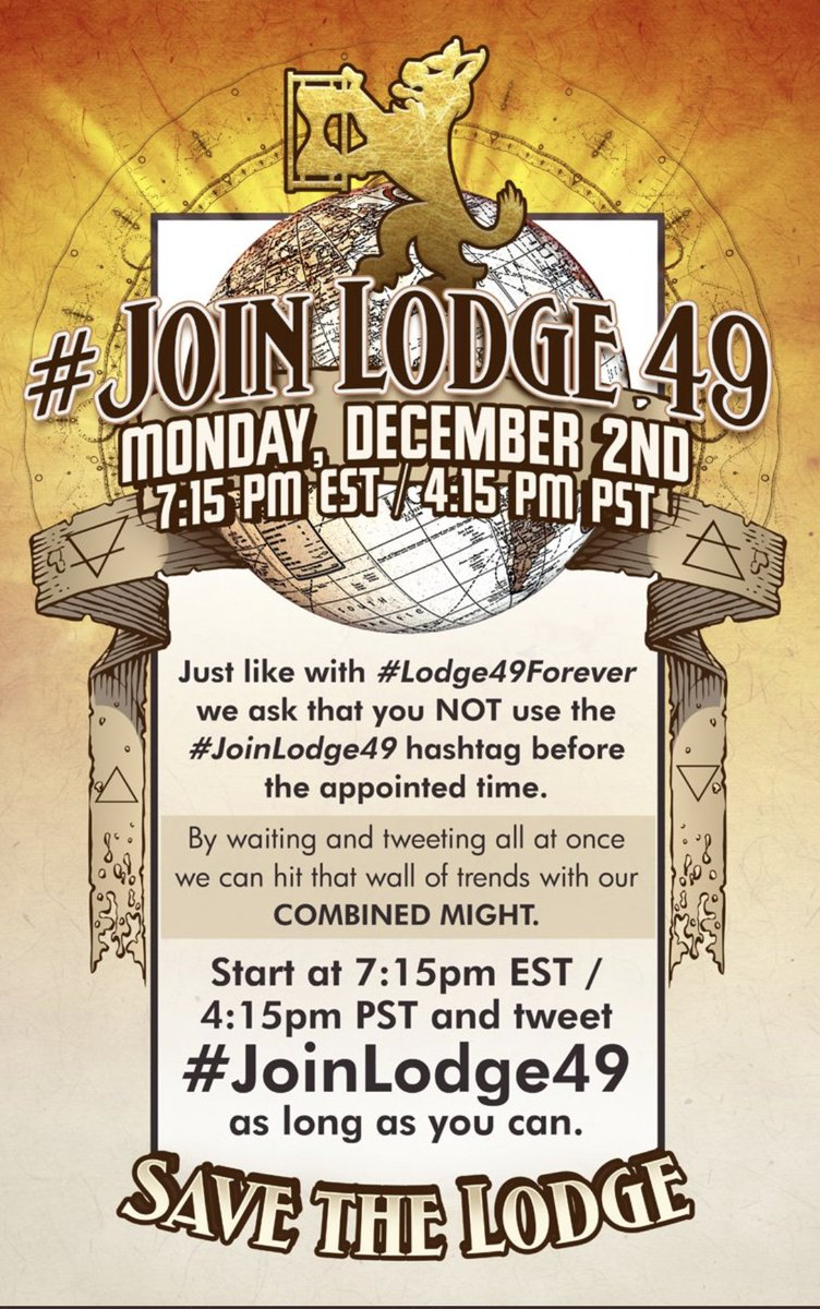 ATTN LYNX:  A reminder we are meeting Monday, December 2nd for a membership drive and a push to #SaveLodge49... Please don't use the hashtag until the set time...  Scott Miller SP (emeritus) @Lodge49