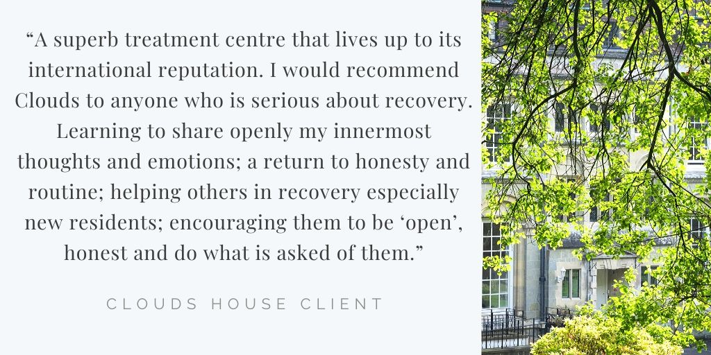 We couldnt help but share this piece of feedback from one of our recent clients at #CloudsHouse. Its an honour and a pleasure to help people start their journeys towards recovery 🙏