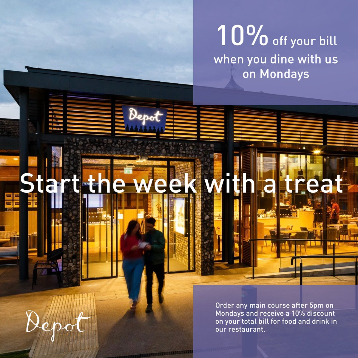 Start the week with a treat at Depot. There's 10% off your bill tonight, when you order any main course in our restaurant. #MondayMotivation #lewes #dinner #offer