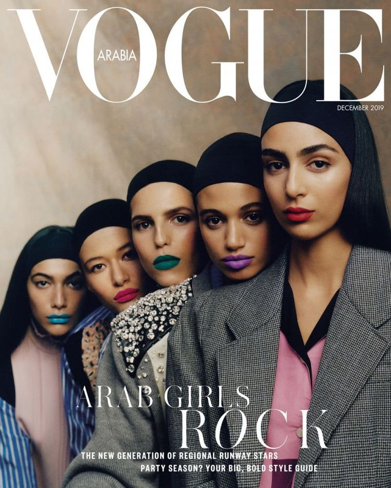 'The face of fashion is changing, with more diverse models reshaping the industry. Hailing from Morocco, Egypt, Algeria and Lebanon....'  Nora Attal, Malika El Maslouhi, Hayett McCarthy, Leyla Greiss and Nour Rizk by Dan Beleiu covering Vogue Arabia (December 2019) <br>http://pic.twitter.com/rHlcSMORK0