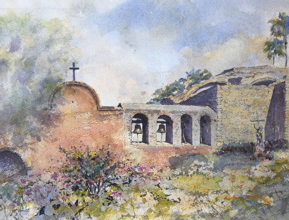 Mission Bells, my #watercolor #painting of Mission San Juan Capistrano #california #orangecounty #missiontrail #watercolorpainting #camino #fineart #hispanicheritage #originalpainting More info: https://daviddpearce.com/portfolio-viewer?collection=110201#lg=1&artworkId=3089351…pic.twitter.com/m5we3zFlLb