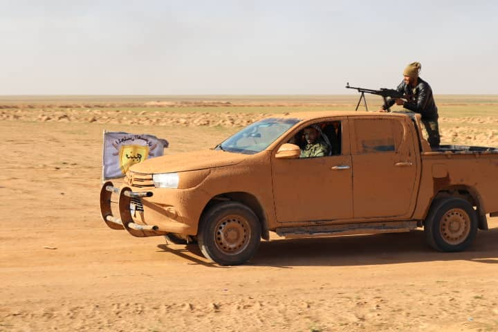 The #MMC has been clashing with the terrorists TFSA at Umm 'Adsa, north of Manbij for the past hour. The clashes include heavy machine guns. #TrumpGenocide <br>http://pic.twitter.com/O0sPh7N5fJ