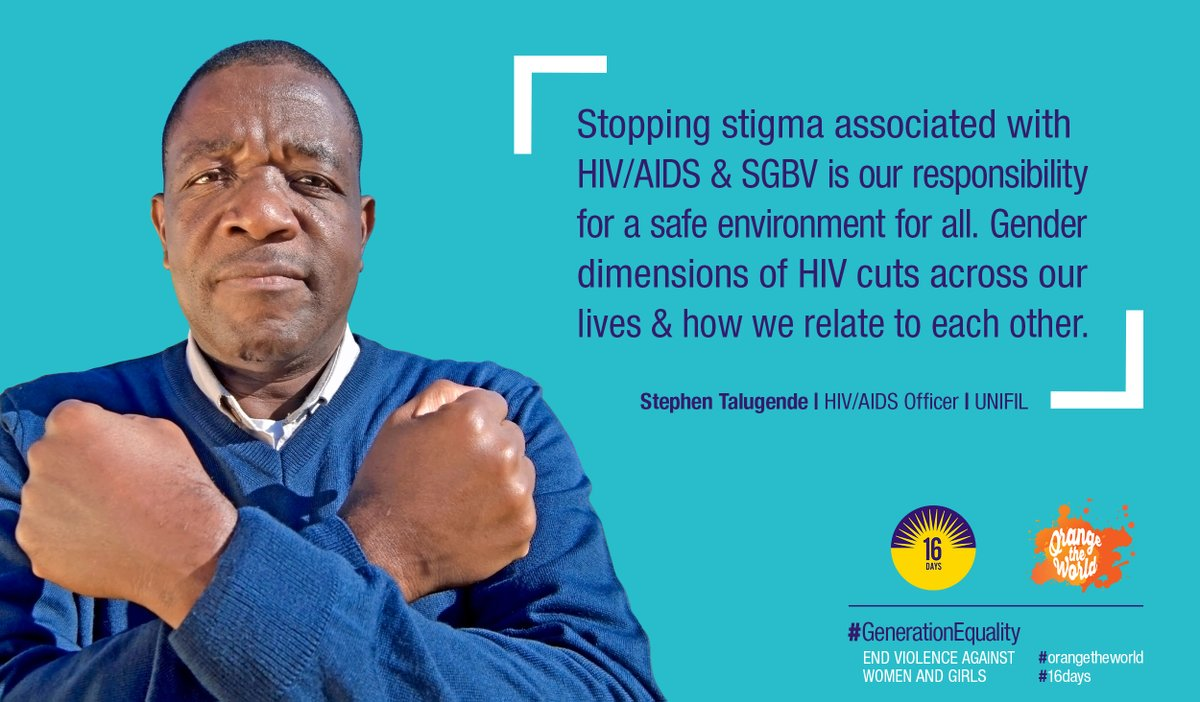 #UNIFIL personnel are adding their voices to the growing global community of people who are breaking the silence around gender-based violence. This is Stephen Talugende, UNIFIL's HIV/AIDS Officer. http://unwo.men/SdMB30pTv6e #orangetheworld #16Days #GenerationEquality @UN_Women