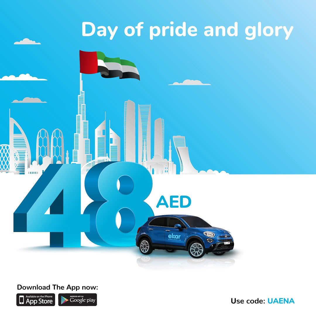 In celebration of the 48th #UAE 🇦🇪 National Day, download the #ekar app and get free driving credit worth 48 AED! Available for new members only December 2nd & 3rd. Promo code: UAENA #uaenationalday48 https://t.co/Ef8FJzVB88