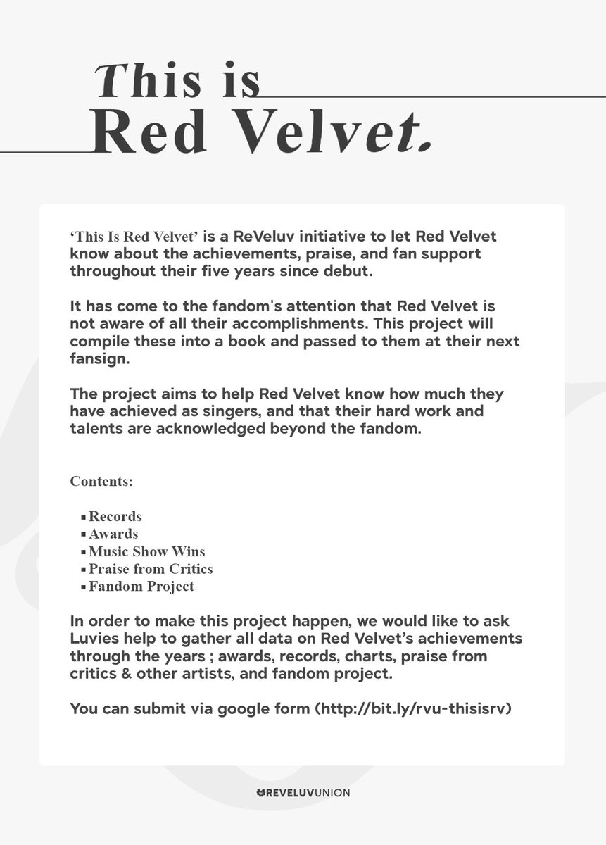 [RVU Project]  'This Is Red Velvet'  Please see the attached image for more details.  You can submit Red Velvet's Records, Praise/Comments from Critics or other Celebrity, Fandom Project etc  Submit:  https:// bit.ly/rvu-thisisrv      #RedVelvet @RVsmtown #ThisIsRedVelvet <br>http://pic.twitter.com/VSnngO9CfC
