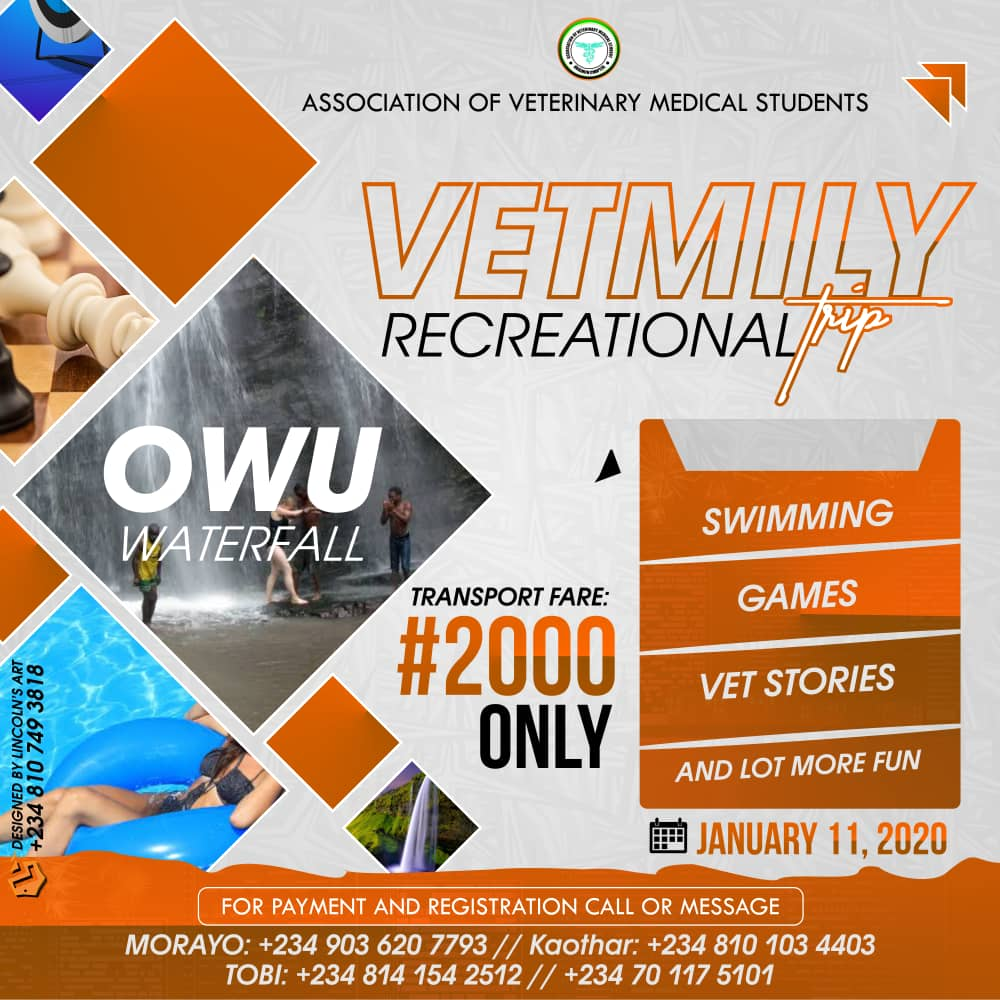 _VETMILY RECREATIONAL TRIP!!_   You don't want to miss this!! You really don't!!   _OWU WATERFALL_   lExcursion Fare  # 2000  Featuring:  *Swimming*  *Games*  *Vet Stories*  *And Lots More*  Date * January 11, 2020* <br>http://pic.twitter.com/8PGZcH27tY