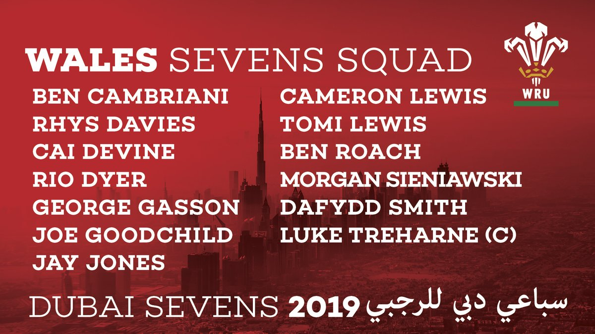 🌏 New head coach Darren Edwards has named his first @WorldRugby7s squad for @Dubai7s (5th-7th Dec). 🆚 NZ, SAM, CAN (Pool C) 📰 bit.ly/WalesDubai7s