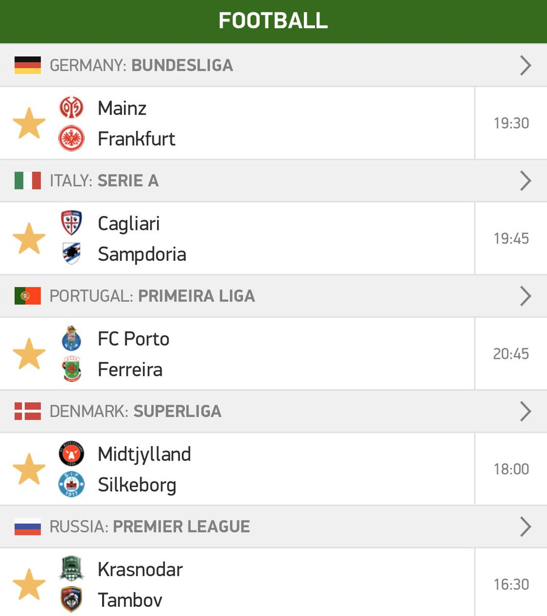Here's what I'm thinking… Porto win, Midtjylland & over 1.5, Cagliari or draw and over 1.5 goals in the Mainz & Krasnodar games! What you think? I also think I'm going to split them so il try get the best odds for our £5 free bet challenge  <br>http://pic.twitter.com/Gat8YNL0W3