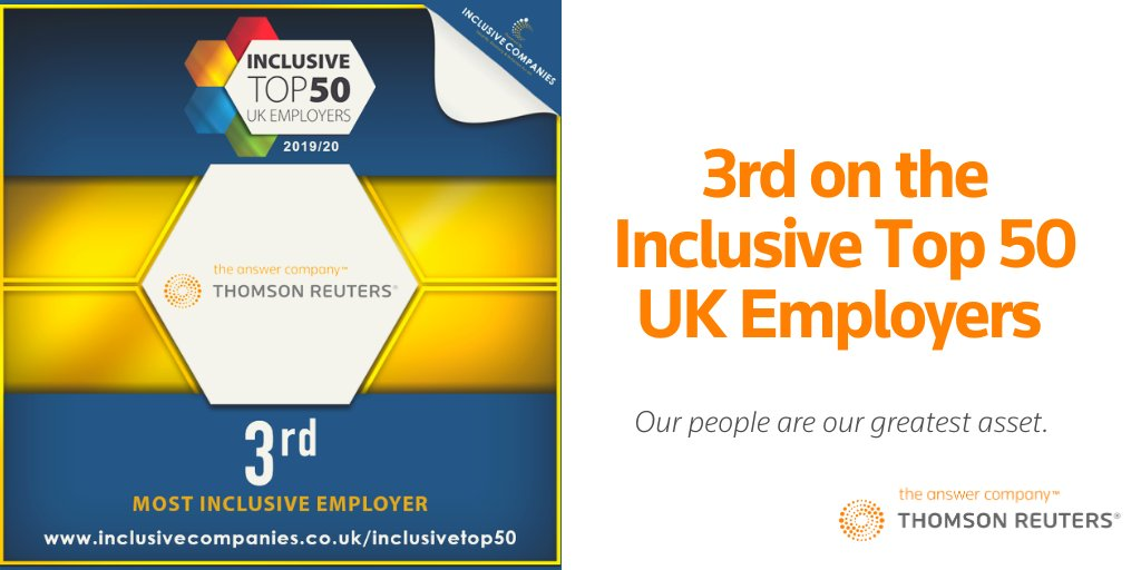 At @thomsonreuters, our people are our greatest asset & that is why we are proud to be named #3 on this years Inclusive Top 50 UK Employers List! #IT50 #WorkingatTR