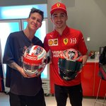 Super cool de changer de casques avec toi mon pote ⛑😜 / It was pretty cool to swap helmets with a great driver and friend like @charles_leclerc ! ⛑😜