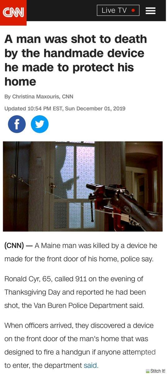 رونالدو سير 65 عام، من ولاية (ماين) الأمريكية، أراد تأمين بيته من السرقات بطريقته الخاصة وذلك بعمل فخ وتثبيت مسدس آلي يطلق النار إذا قام شخص بفتح الباب. فأراد التأكد من عمل الفخ وفتح الباب وانطلقت رصاصة فأصابته ومات بعد نقله للمستشفى.