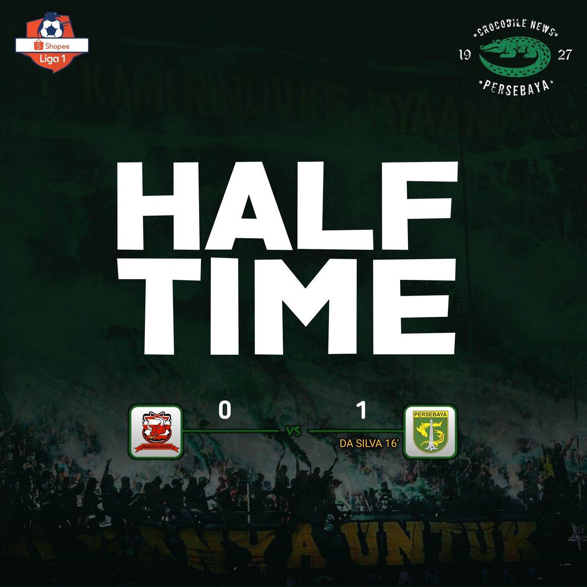 Half Time: Madura United 0-1 Persebaya _ ⚽️ Da Silva 16'  Semoga Babak kedua bisa nambah Gol atau bisa mempertahankan ke unggulan saat ini.  #Persebaya #bajolijo #greenforce #CrocodileNews #bonek #bonita #PersebayaDay