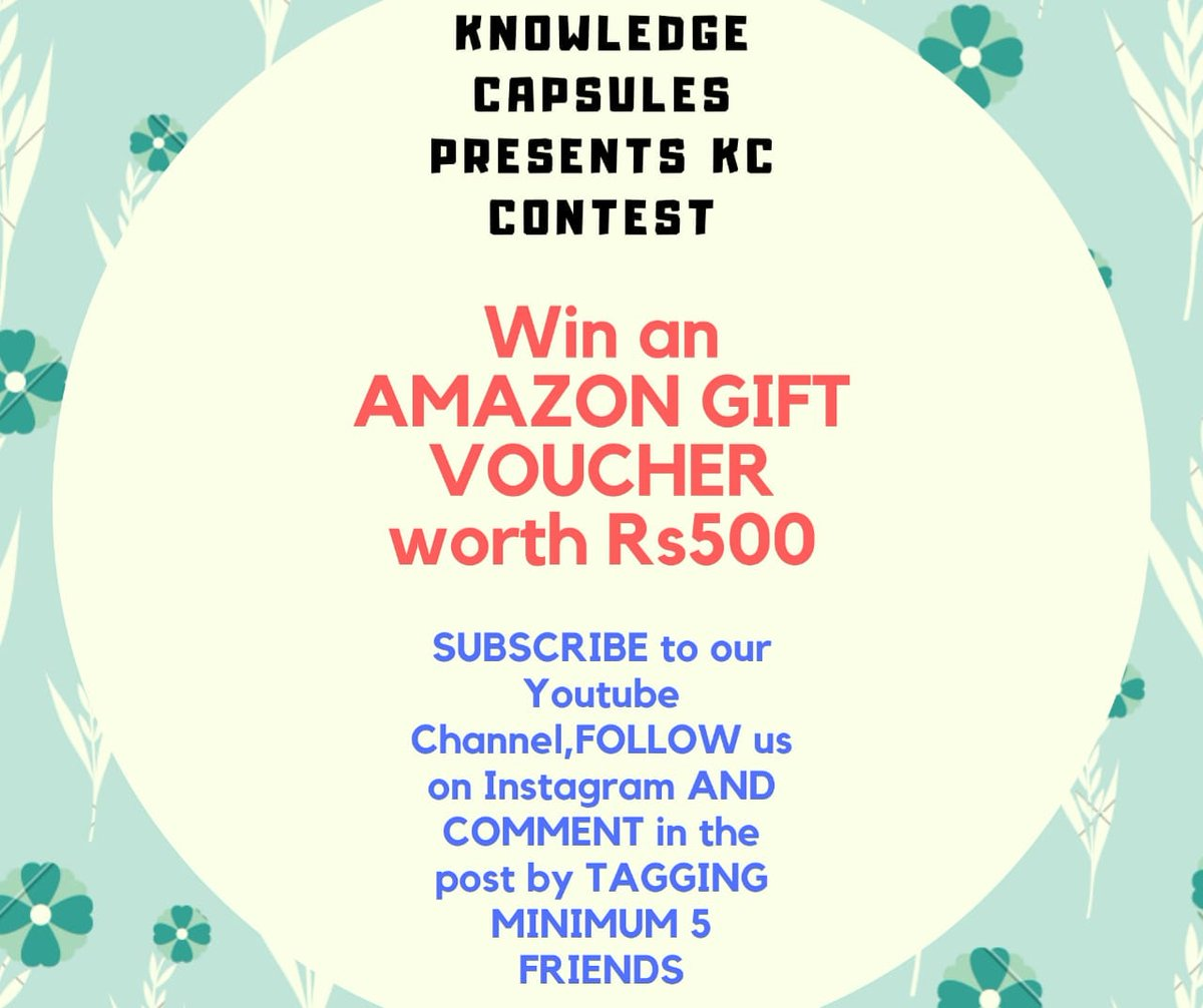 #Contest Alert One lucky winner will WIN an AMAZON gift voucher worth Rs500. Winner will be decided by a LUCKY DRAW. 1. *Subscribe* to our youtube channel  2. *Follow* us on Instagram  3. Comment on this post by tagging *MINIMUM* 5 friends.  open for EVERYONE.