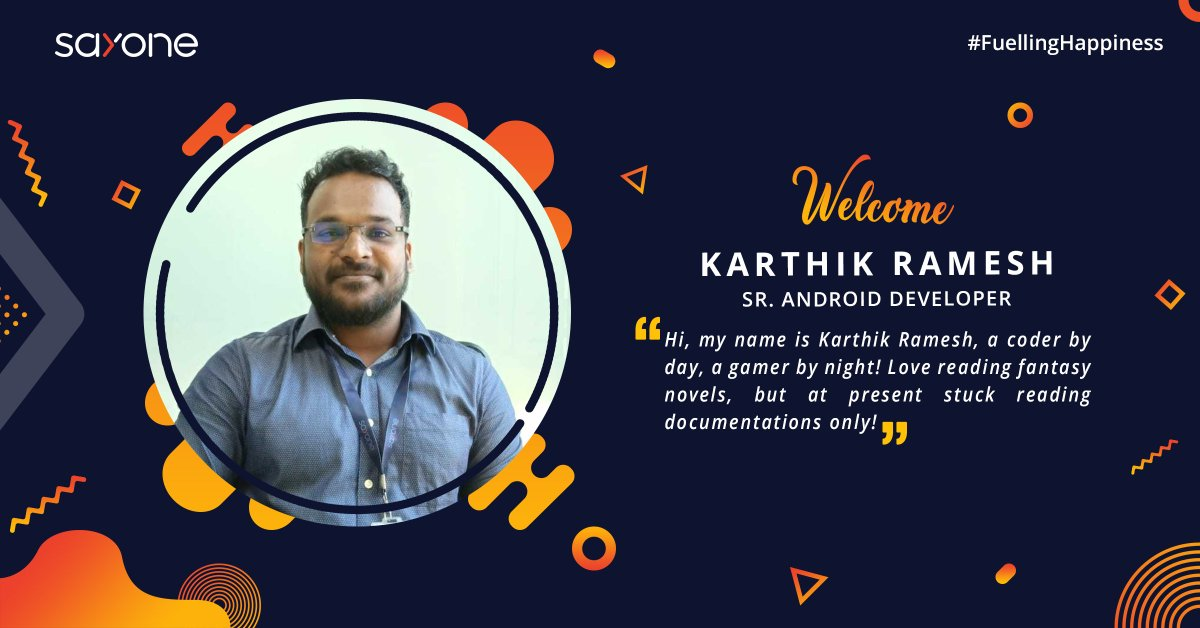 It's a pleasure to announce that Mr. Karthik Ramesh joined our team as SR. Android Developer. Welcome to SayOne!  #Welcome #AndroidDeveloper #SayOne #FuellingHappiness<br>http://pic.twitter.com/pOKl023pQC