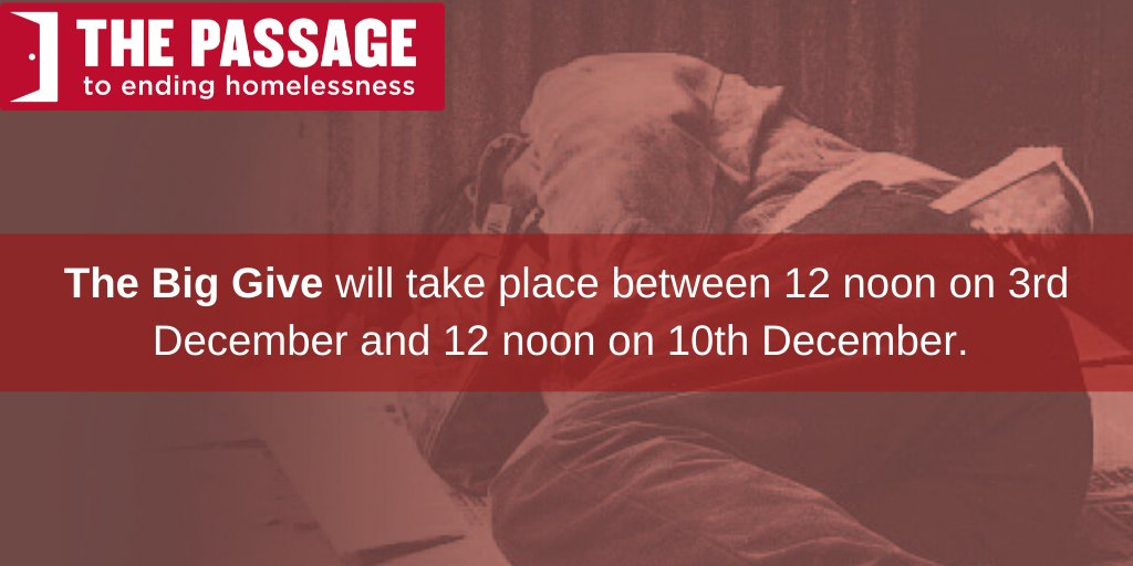 The Big Give begins tomorrow. This means that any donation you make will be doubled at no extra cost to yourself. Just donate via this @BigGive link donate.thebiggive.org.uk/campaign/a051r… between midday tomorrow & 10th December. Spread the word & help us support #homeless people this winter.