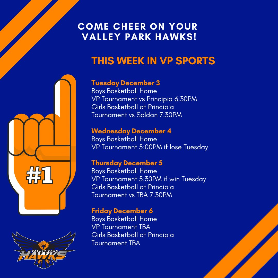 Come cheer on your VP Hawks! Here is the game schedule for the VP Athletics this week! #GoHawks #VPpride