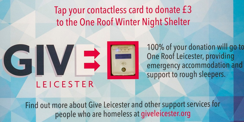 Have you spotted contactless donation points across #Leicester city centre? Tap your card to give money to support a local night shelter that helps #roughsleepers. Read more here: ow.ly/UDIN50wWpEP
