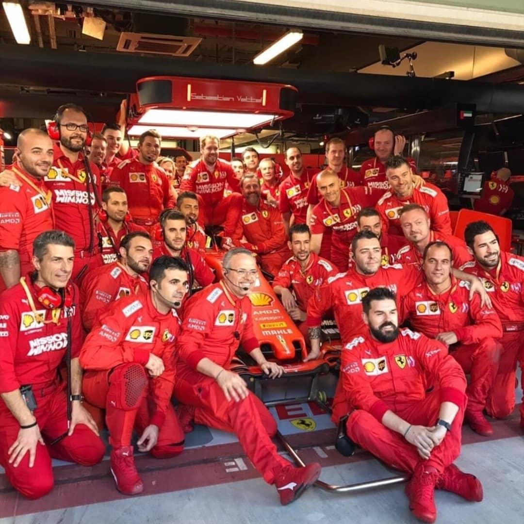 "THE LAST TEAM RADIO 2019 by #Vettel ♥:  ""Grazie a voi. Grazie a tutti i meccanici. Grande lavoro. Grazie a tutti i meccanici. Voi siete Ferrari"" Nobody loves this team like him ♥ #F1 #AbuDhabiGP #essereFerrari"