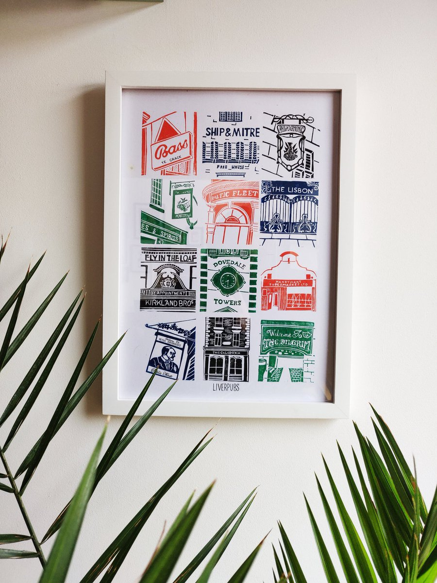 How amazing is this print by local artist Claire Wood? It details 12 of her favourite pubs in Liverpool and 50% of the money from every print goes straight to @WhitechapelLiv You can buy it here: etsy.com/uk/listing/752…