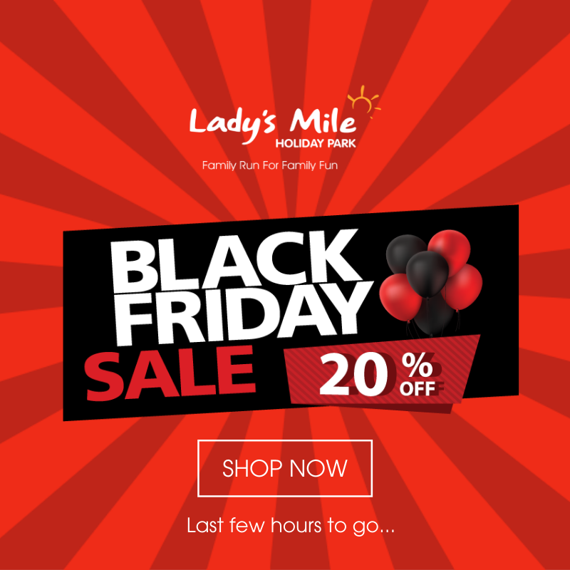 🚨 BLACK FRIDAY - LAST FEW HOURS TO GO 🚨 Simply enter code BF20 to take 20% off all holiday bookings throughout 2020 - online bookings only! Visit >> bit.ly/Ladys-Mile-Bla… to Book! Dont miss out on these MASSIVE savings!!