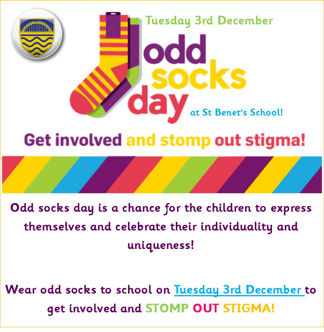 REMINDER - as part of our Anti-Bullying Week, all children are to wear odd socks tomorrow (Tuesday 3rd December)  to celebrate difference and individuality! #oddsocksday #SBABT19<br>http://pic.twitter.com/7mF8mC95ik