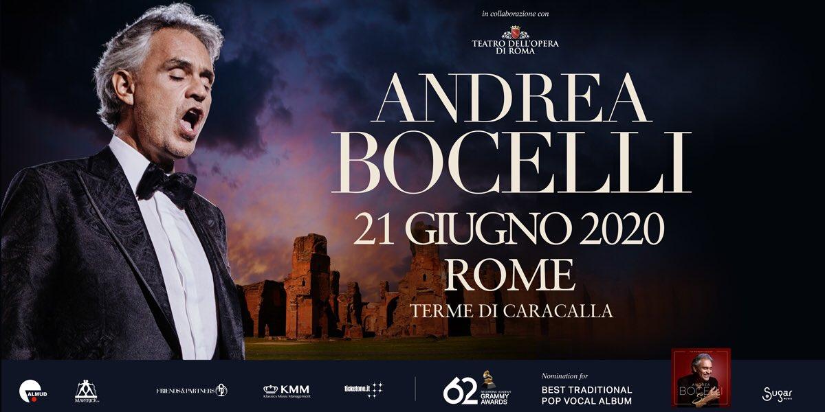 21 GIUGNO 2020, TERME DI CARACALLA Andrea Bocelli inaugurerà lestate 2020 con uno spettacolare evento alle Terme di Caracalla. Le prevendite si apriranno il 4 dicembre alle 16.00 su ticketone.it