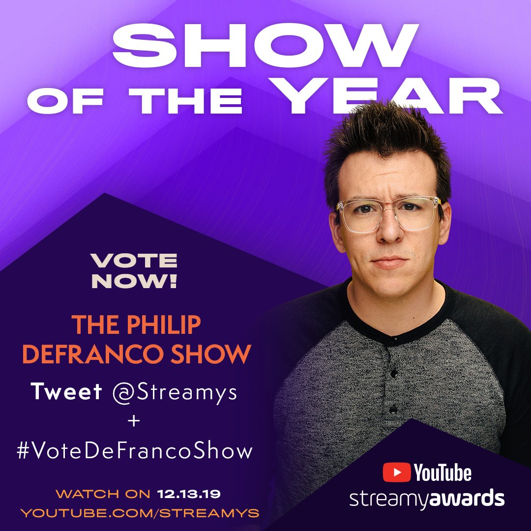 you wont regret it if you vote for @PhillyD to win Show of the Year at the #streamys! RT or tweet #VoteDeFrancoShow + tag @streamys now.
