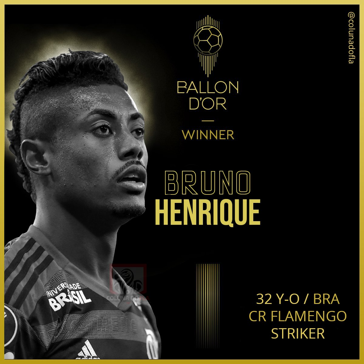 Bruno Henrique from @Flamengo is the 2019 Ballon d'Or winner! IT'S THE FIRST! #ballondor<br>http://pic.twitter.com/6qlKrRRNoz