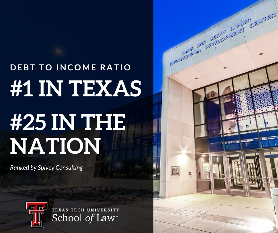 Texas Tech Law On Twitter Texas Tech Law Ranks 1 In Texas And 25 In The Nation In Debt To Starting Income Ratio See The Rankings By Spivey Consulting Here Https T Co Pgxlgfb1ap Ttulawproud Ttulaw Anothertechlawwin Texastech