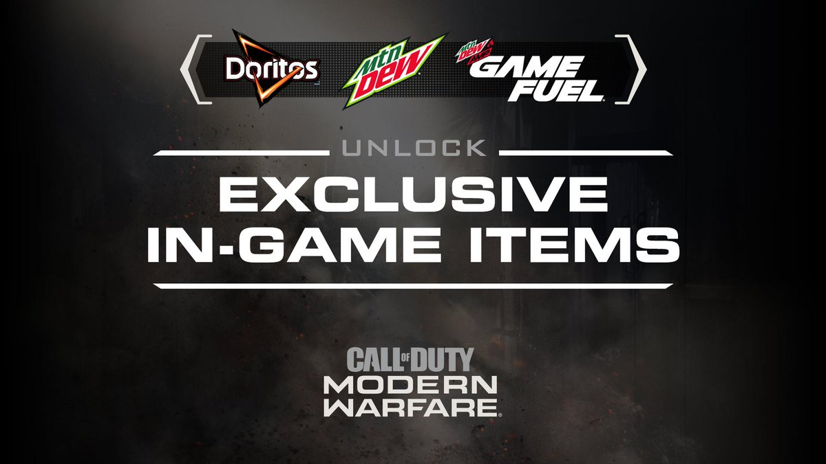 Ready to take your COD game to the next level? Unlock 3 exclusive item drops in @CallofDuty  #ModernWarfare. Just follow us, and then tweet @MountainDew with #DoritosDewDrop.