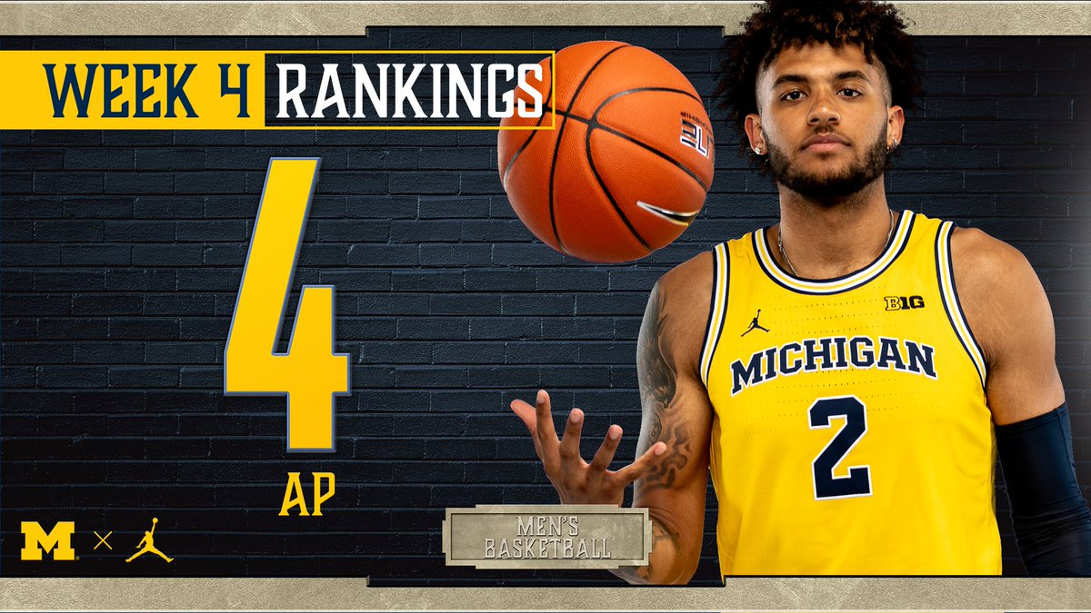 Michigan makes the 𝒍𝒂𝒓𝒈𝒆𝒔𝒕 jump in the 70-year history of the AP Poll coming in at No. 4 in week four!  #GoBlue 〽️🏀 https://t.co/JlVvYM6m9V