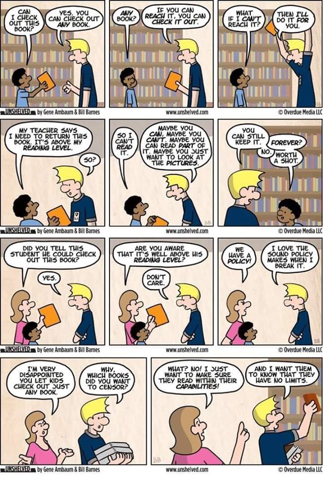 Loving this cartoon on what a 'just right book' communicates to students: