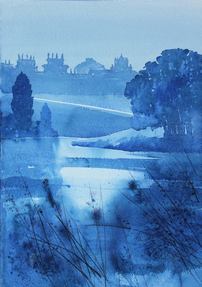 a cold frosty morning at @BlenheimPalace #watercolour #blenheim #woodstock