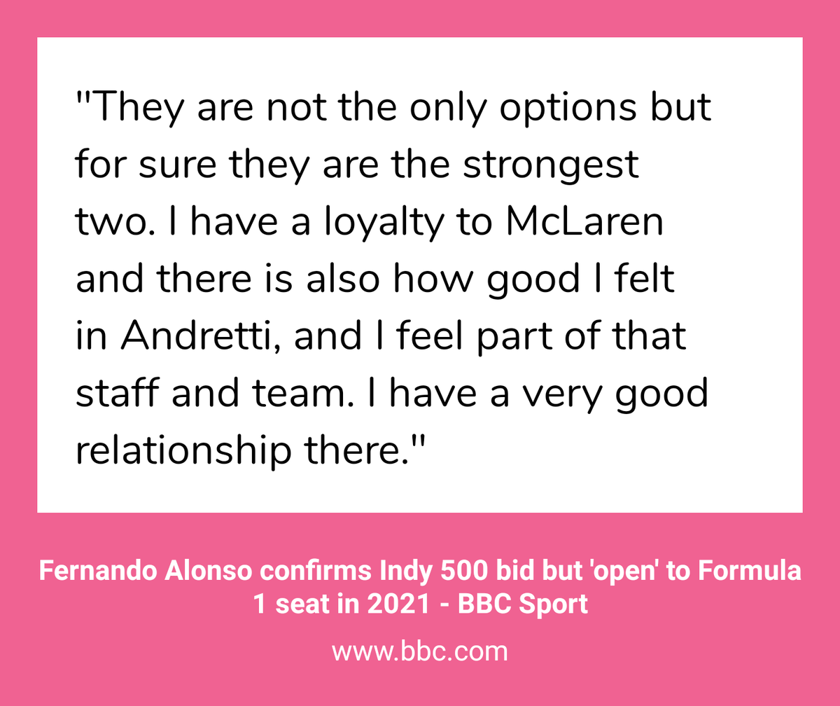 ".@Alo_Oficial is ""close to concluding a deal with [@FollowAndretti]"" to drive for the team in the 2020 Indy 500, per @AndrewBensonF1's sources.  - Alonso confirmed to Benson that he will be in the Indy 500 but said he's still deciding which team.  - https://www.bbc.com/sport/formula1/50624626 …"