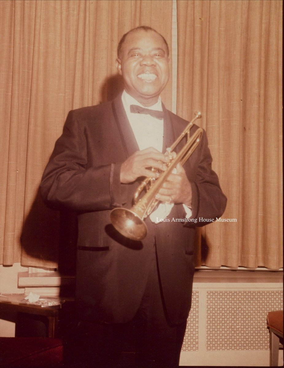"""Louis Armstrong celebrated """"50 Years in Show Business at @carnegiehall on this date in 1965! Here's some rare images from the evening, presented to Louis in a photo album recently digitized for the first time (look for cameos by Sammy Davis Jr. and Joe and Cindy Adams, too)!"""