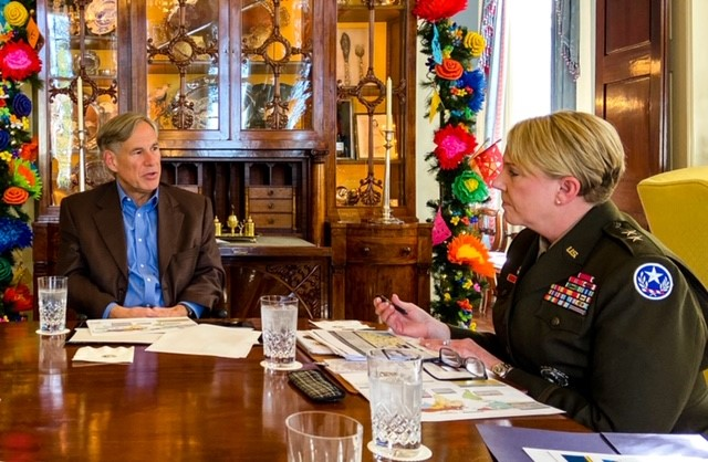 Receiving an update on Texas National Guard activities in Texas from @MGTracyNorris of the @TXMilitary.