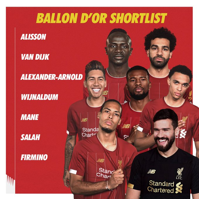 Well in, Reds   @VirgilvDijk (2nd) Sadio Mane (4th) @MoSalah (5th) @Alissonbecker (7th) Roberto Firmino (17th) @trentaa98 (19th) @GWijnaldum (26th)  Boss  #BallonDor <br>http://pic.twitter.com/w0ZIkgz6vG