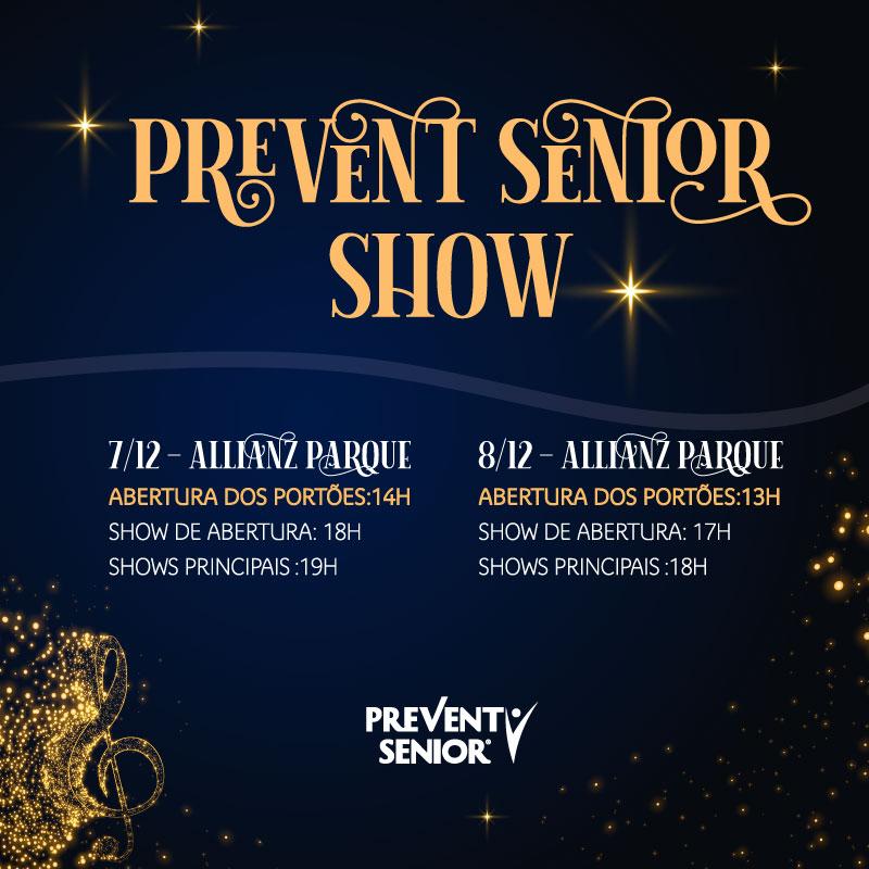 Contagem regressiva para o Prevent Senior Show 🤩 🤩 🤩 ⠀ 🗓 7 e 8/12 📌 Allianz Parque ⏱ Confira na imagem os horários oficiais ⠀ #PreventSenior #PreventSeniorShow #EspecialistaEmPessoas #CuidarEaNossaEssencia
