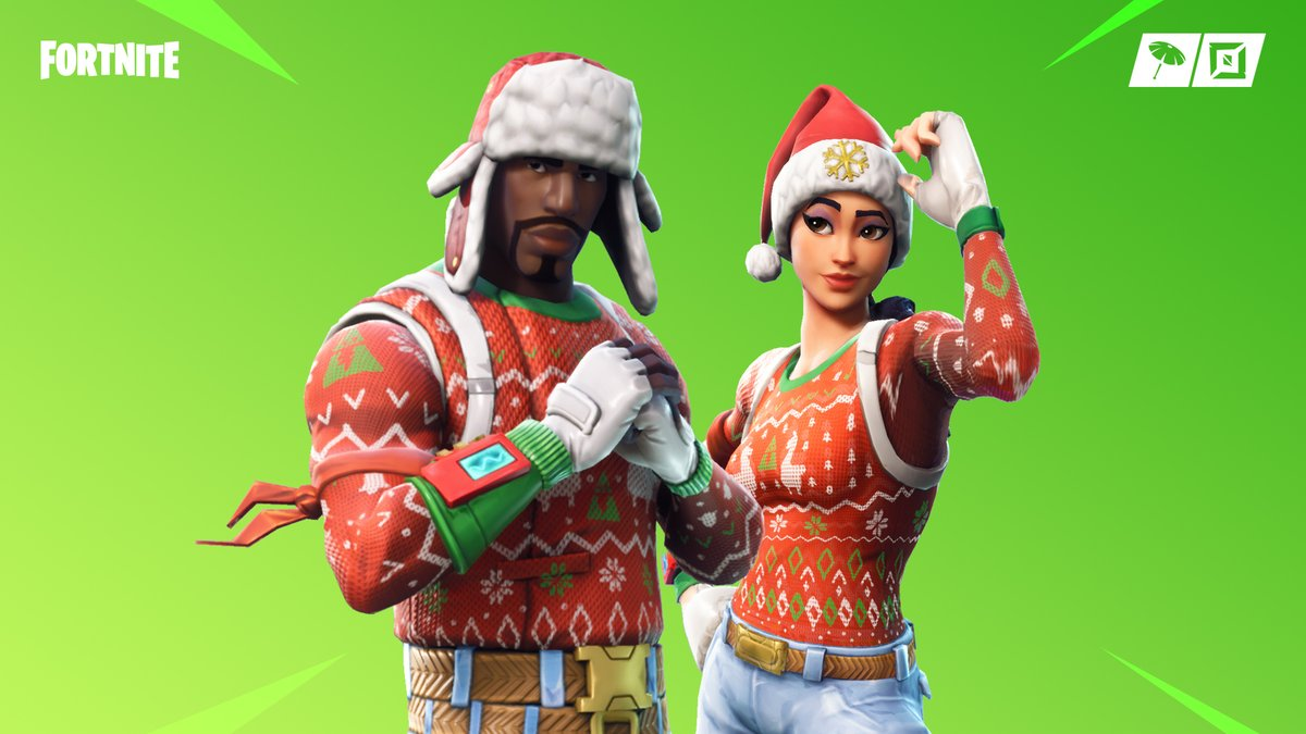 Its time to pull out the ugly holiday sweaters ❄️ The Nog Ops Outfit, Yuletide Ranger Outfit, Tree Splitter Pickaxe, and the Candy Cane Wrap are available now in the Item Shop now!
