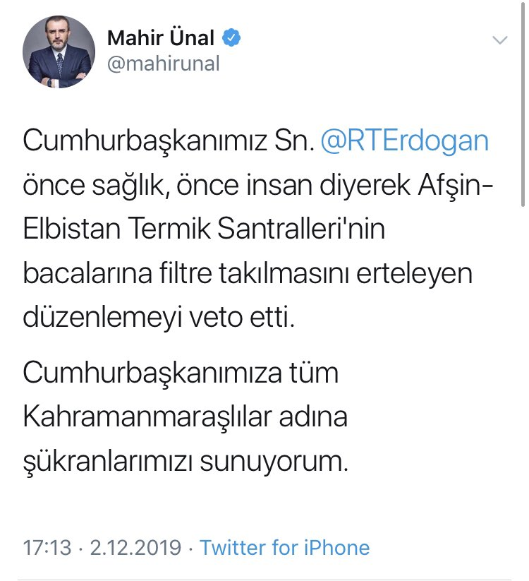 TBMM'de, termik santrallere filtre takılmasının ertelenmesi için kabul oyu veren AKP'li milletvekilleri, Cumhurbaşkanı Erdoğan yasayı veto edince tebrik kuyruğuna girdi. O ki tebrik edecektiniz neden yasaya evet dediniz?