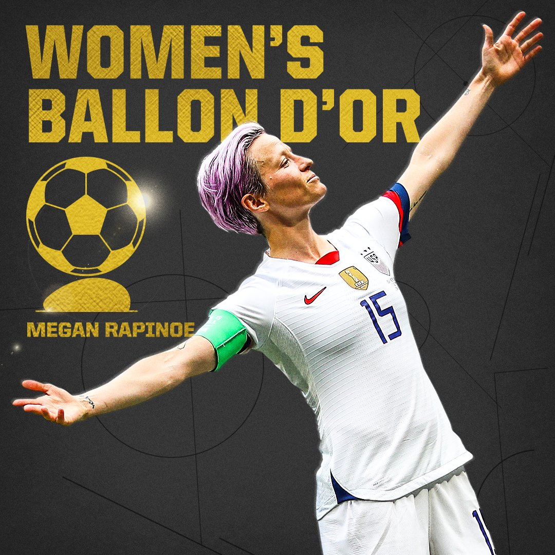 BREAKING: Megan Rapinoe wins the 2019 Women's Ballon d'Or 🏆  (via @espnW)