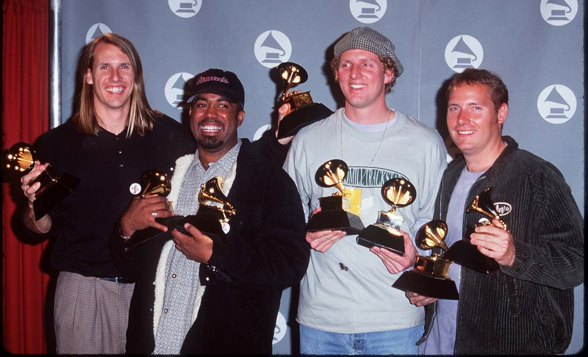"""We're not crying, you're crying. It's been 24 years since Hootie and the Blowfish (@HootieTweets) won a GRAMMY for Best Pop Performance By a Duo or Group for """"Let Her Cry"""". #GRAMMYVault"""