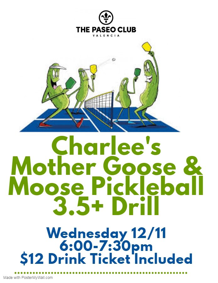 """Come join Jen and Moose for a fun and exciting pickleball drill """"Charee's Mother Goose and Moose"""" for adults level 3.5 and higher on Wednesday, December 11th from 6:00-7:30pm. Space is limited so sign up online. #charleesmothergoose #moose #charleejames #pickleball @PaseoClub pic.twitter.com/mNT74vCBMj"""