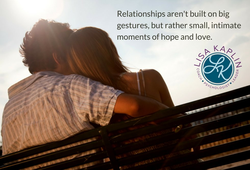 Relationships aren't built on big gestures, but rather small, intimate moments of hope and love.  #marriage #relationships #love #divorce http://bit.ly/2o6D8AW