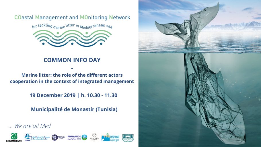 Save the date!  19 December | Monastir   #COMMON will be launched in #Monastir, #Tunisia to discuss how different actors, as local #authorities, environmental #NGOs, #scientists and #citizens can cooperate in the context of #integrated management to reduce #marinelitter pic.twitter.com/6RcAfC3dAj