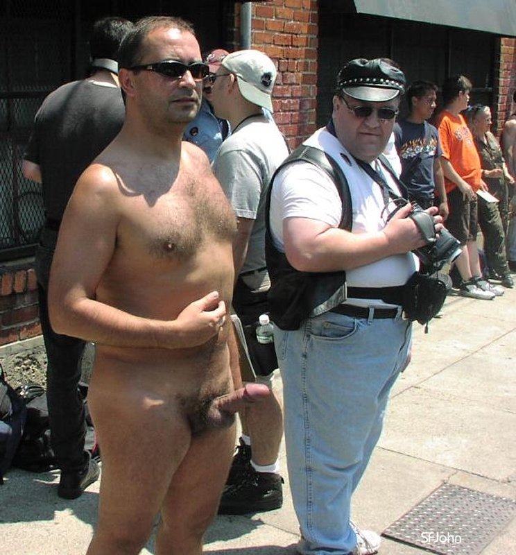 Nude guy with erection in public